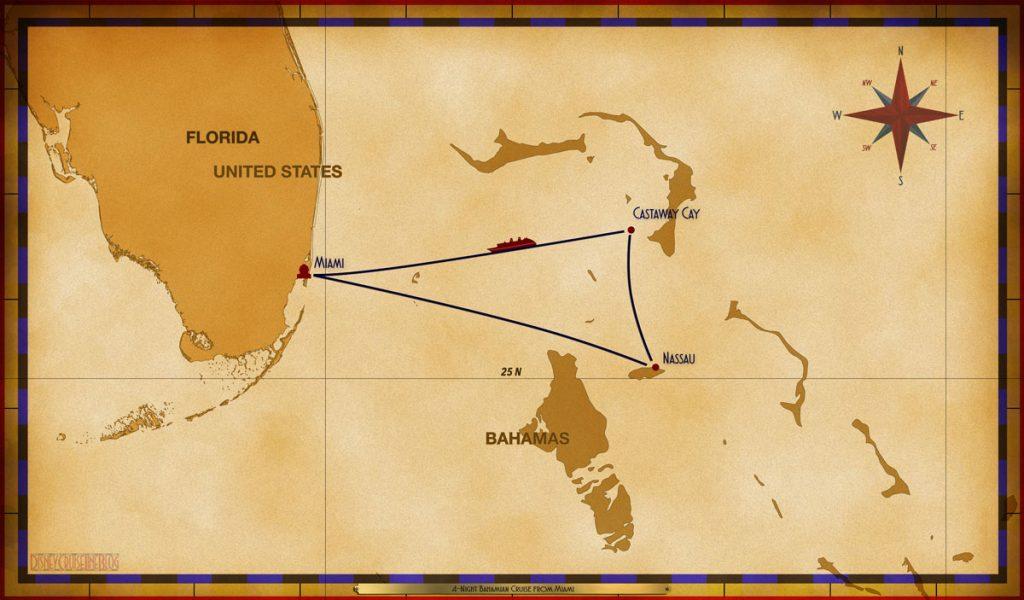 Map Magic 4 Night Bahamian Cruise MIA CC NAS SEA