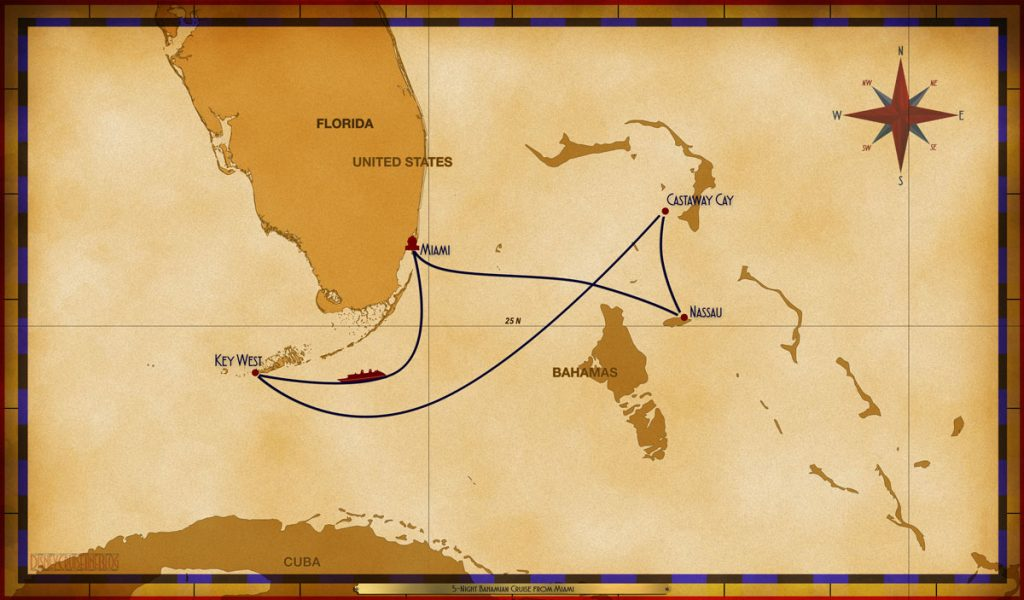 Map Magic 5 Night Bahamian Cruise MIA SEA KW CC NAS