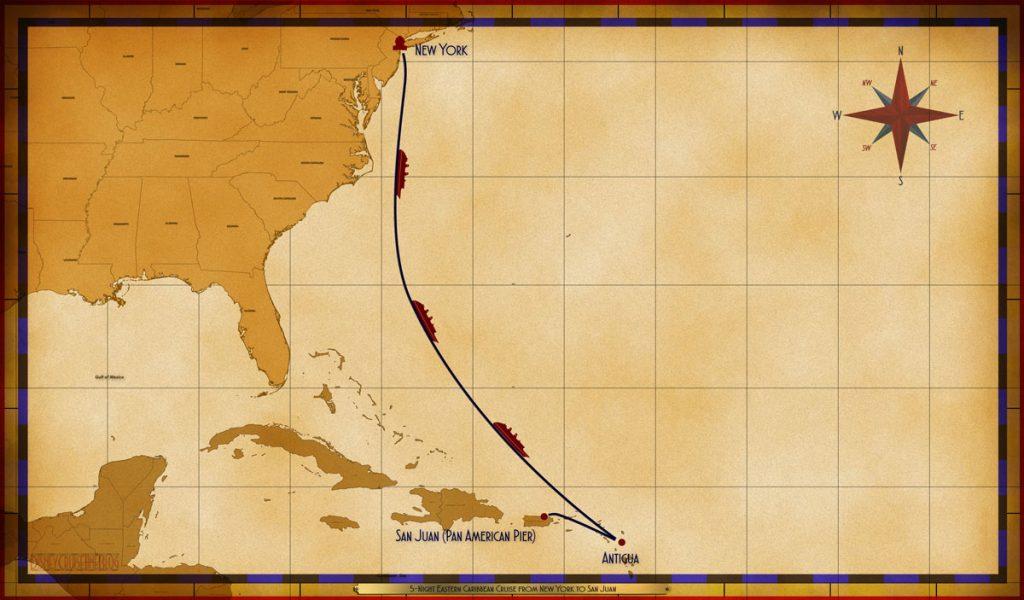 Map Magic 5 Night Eastern Caribbean Cruise NYC SEA SEA SEA ANU SJU