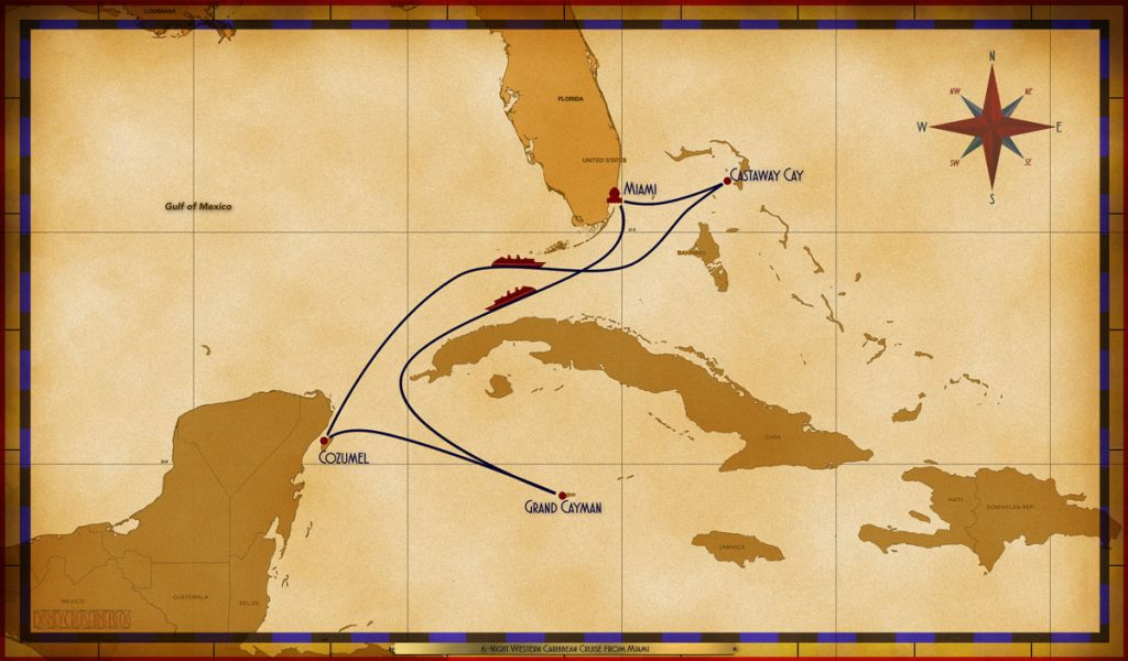 Map Magic 6 Night Western Caribbean Cruise MIA SEA GEC COZ SEA CC