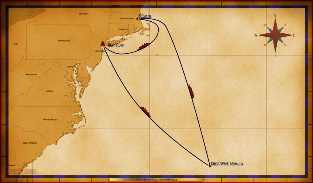 Map Magic 7 Night Bermuda Cruise NYC SEA BER BER SEA BOS SEA
