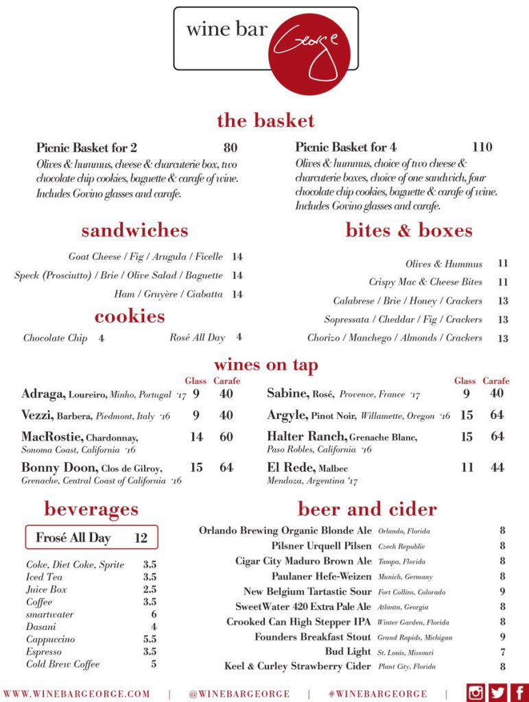Wine Bar George Basket Menu May 2018