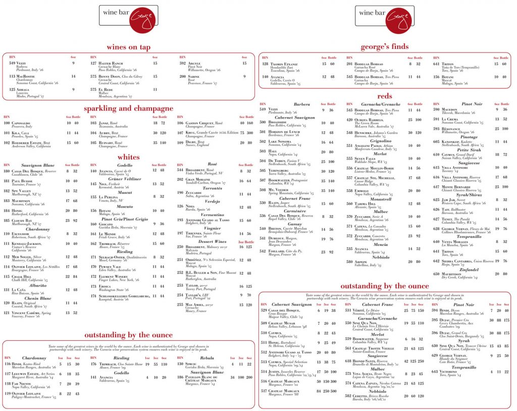 Wine Bar George Wine Menu May 2018
