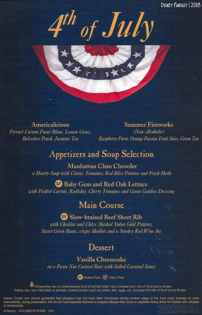 DCL Forth July Dinner Menu 2018