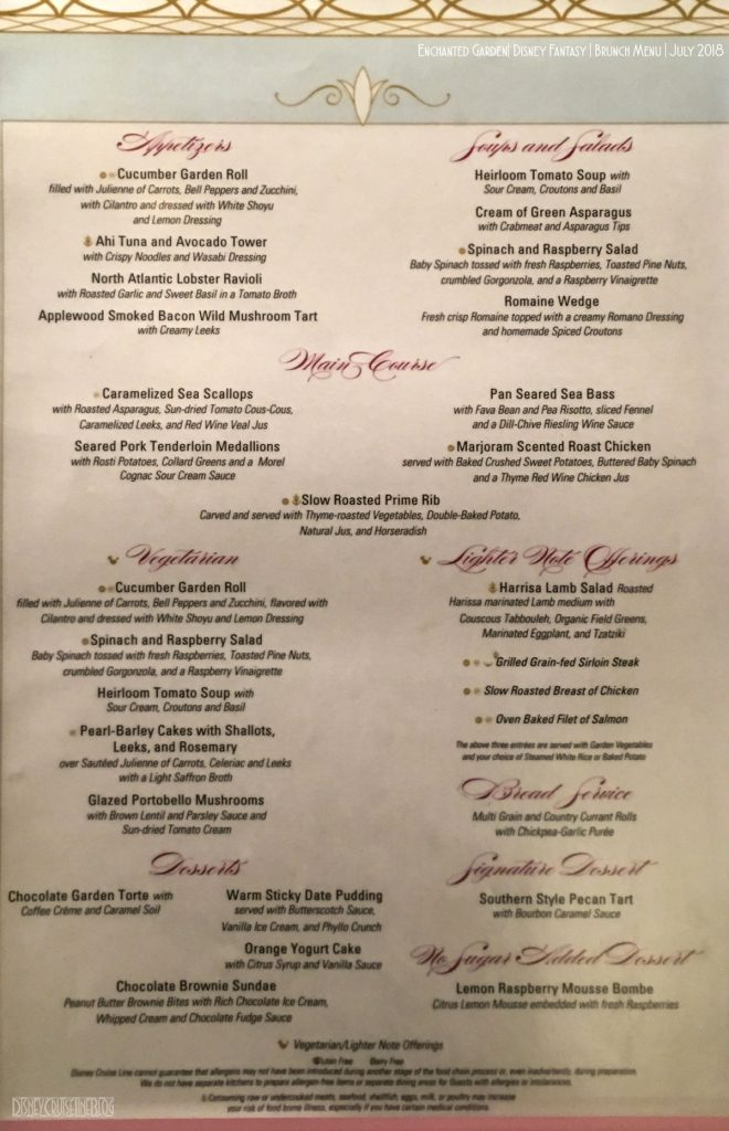 Enchanted Garden Dinner Menu Fantasy June 2018