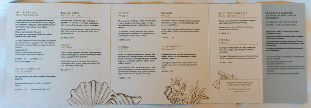 Eurostars Grand Marina Massage Menu