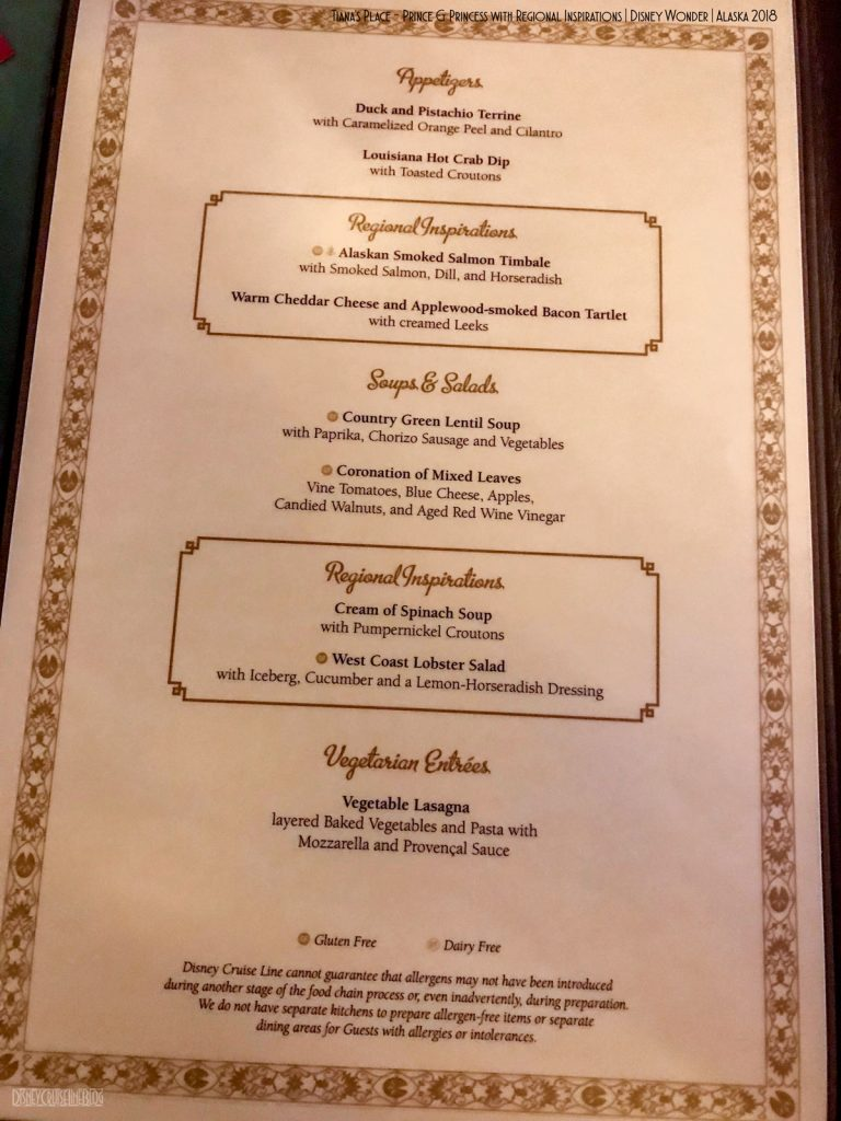 Tianas Place Prince Princess Regional Menu A Wonder 2018