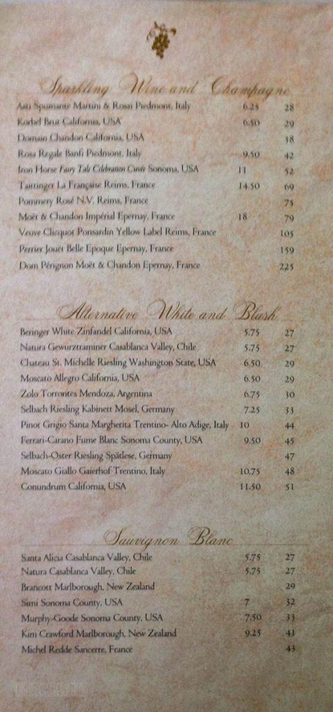 DCL MDR Wine Menu Fantasy December 2012