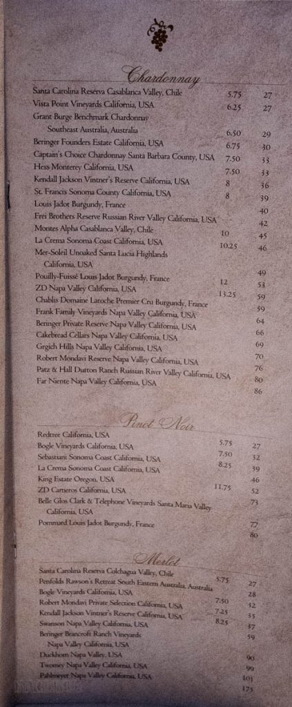 DCL MDR Wine Menu Magic October 2013