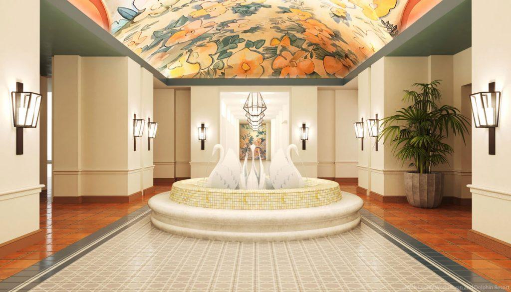 Swan Lobby Rendering Swan Fountain