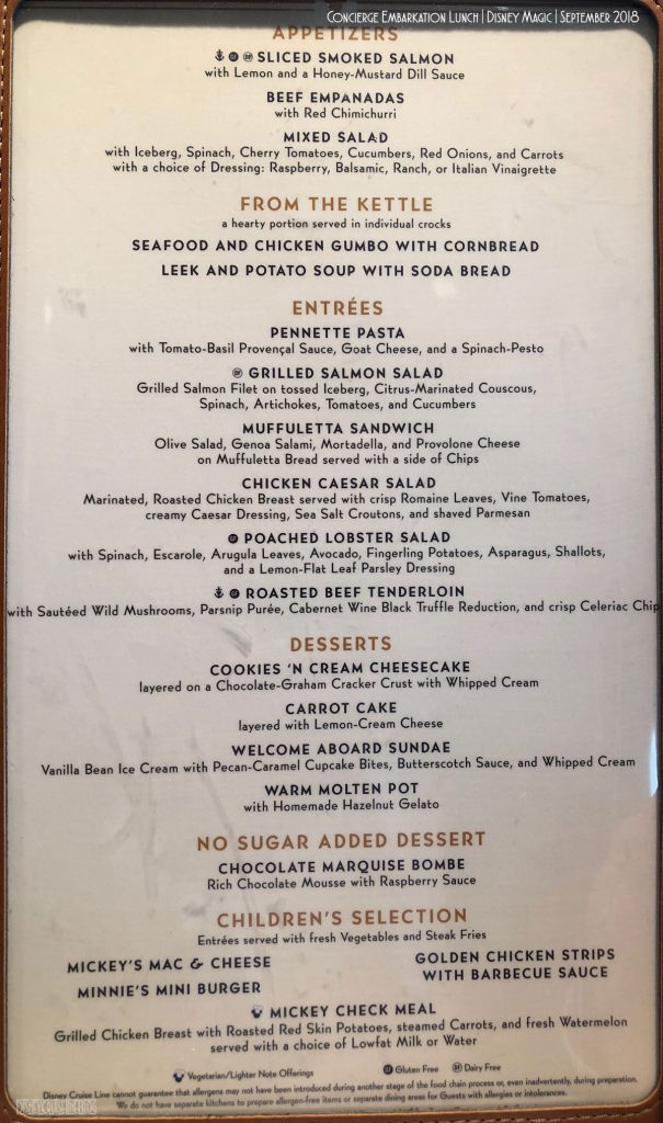 DCL Concierge Embarkation Lunch Menu September 2018