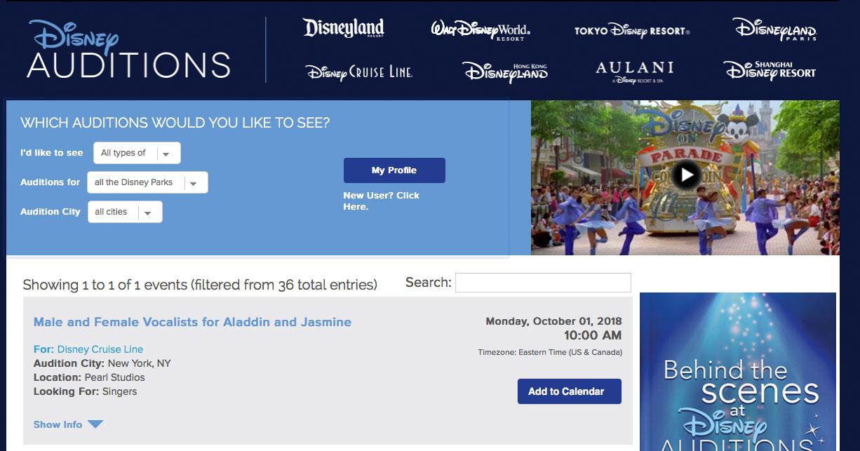 DCL Disney Auditions Renewed Aladdin Casting Notice