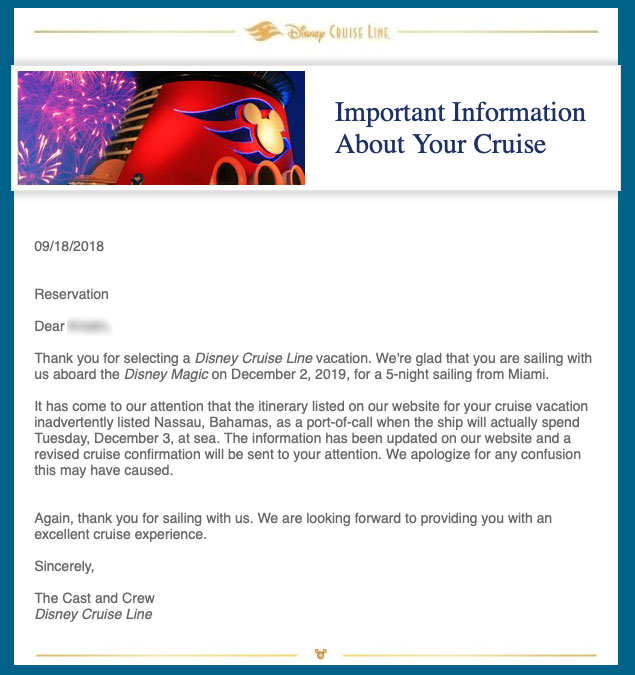 DCL Magic 20191202 Itinerary Change Notice