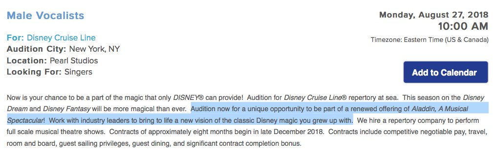 DCL Renewed Aladdin Casting Nocice July 2018