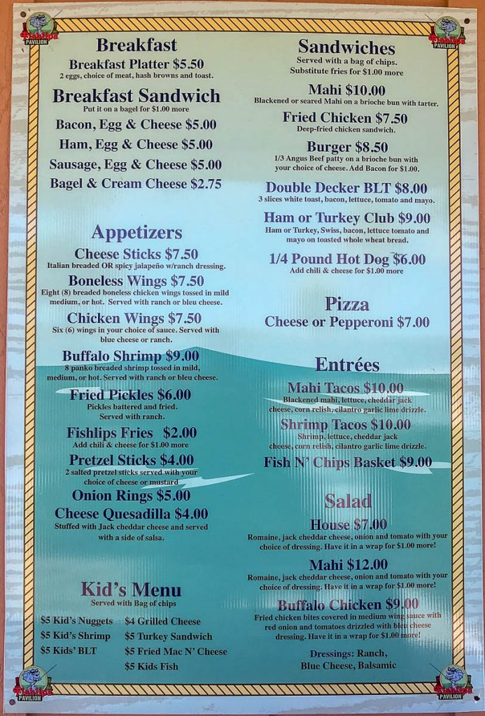 Fishlips Pavilion Menu Jetty Park