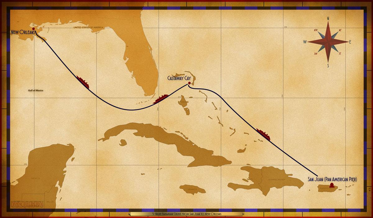 Map Wonder 5 Night Repositioning SJU SEA GOC SEA SEA MSY