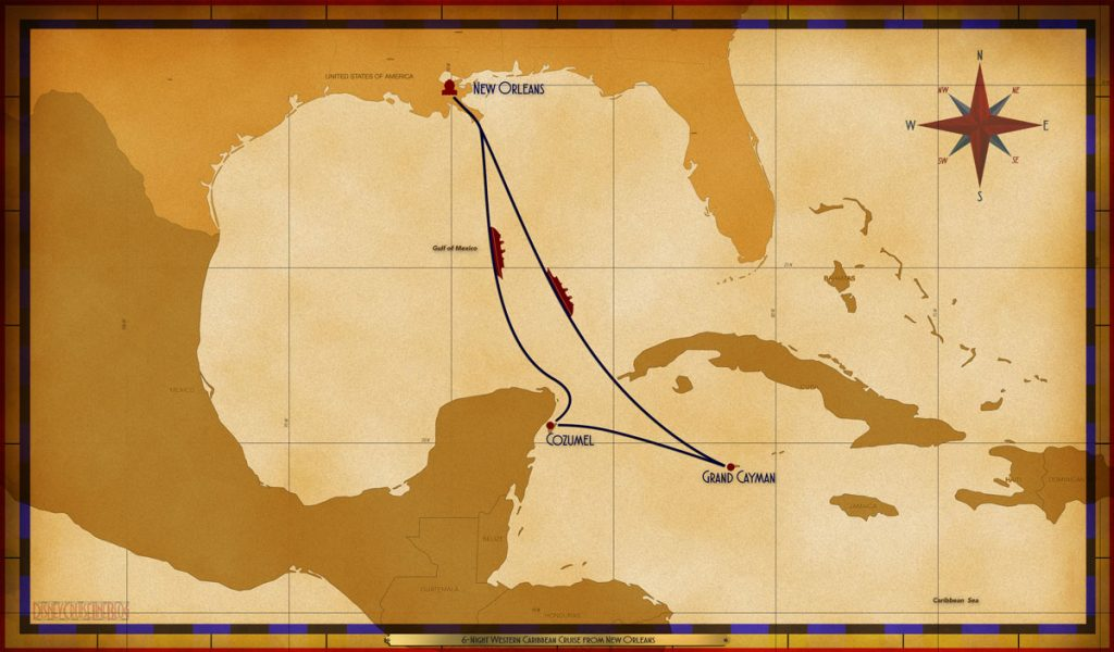 Map Wonder 6 Night Western Caribbean MSY SEA CZM GEC SEA SEA