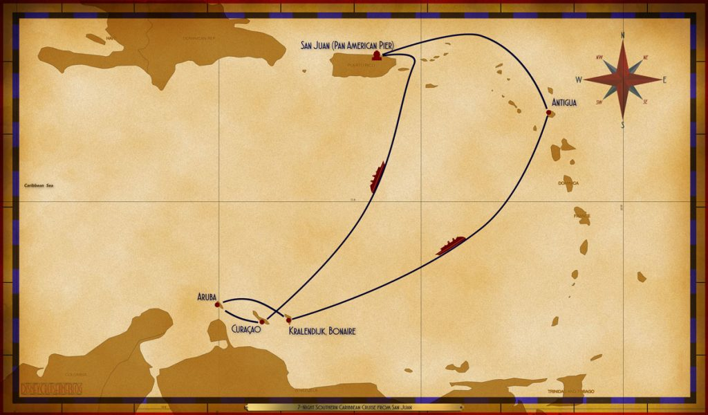 Map Wonder 7 Night Southern Caribbean SJU ANU SEA BON ARU CUR SEA
