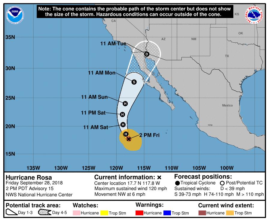 NOAA Forecast Hurricane Rosa 20180928