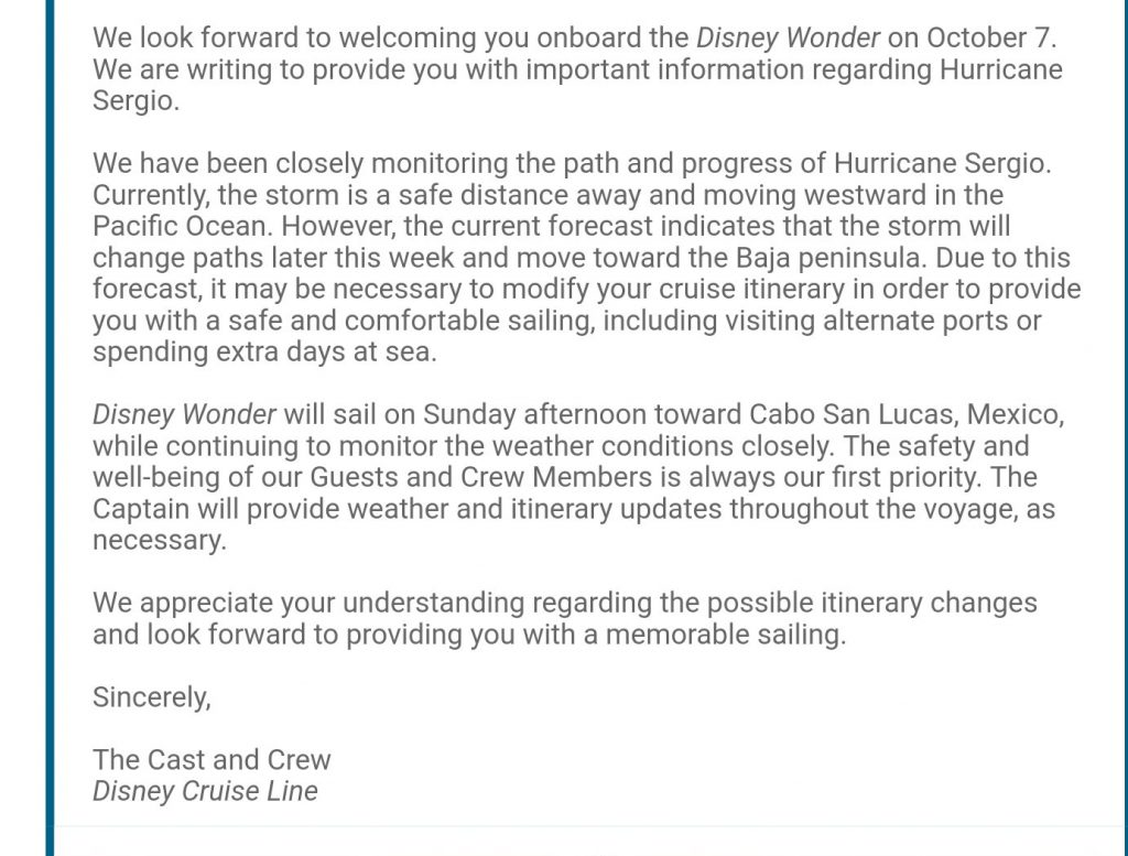 DCL Email Hurricane Sergio Wonder 20181007