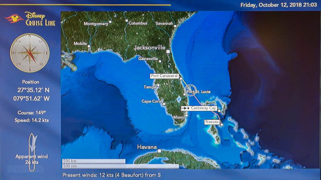 Stateroom TV Map Port Canaveral 20181012