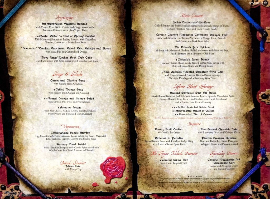 Pirates Dinner Menu Fantasy Wonder 2018