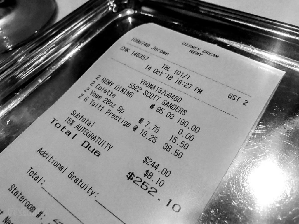 Remy Dinner Final Bill