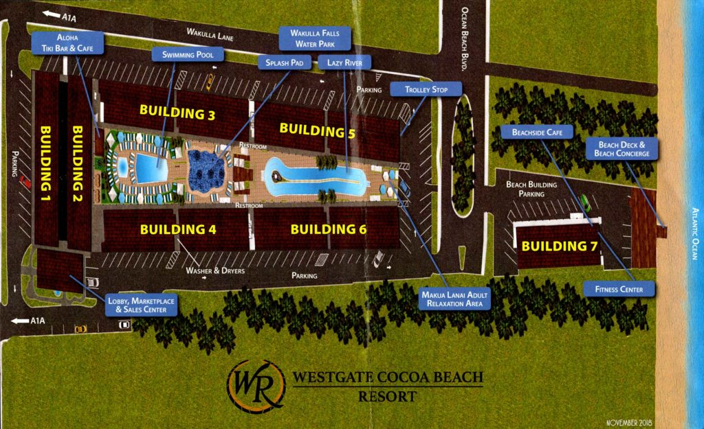 Cocoa Beach Resort Map November 2018