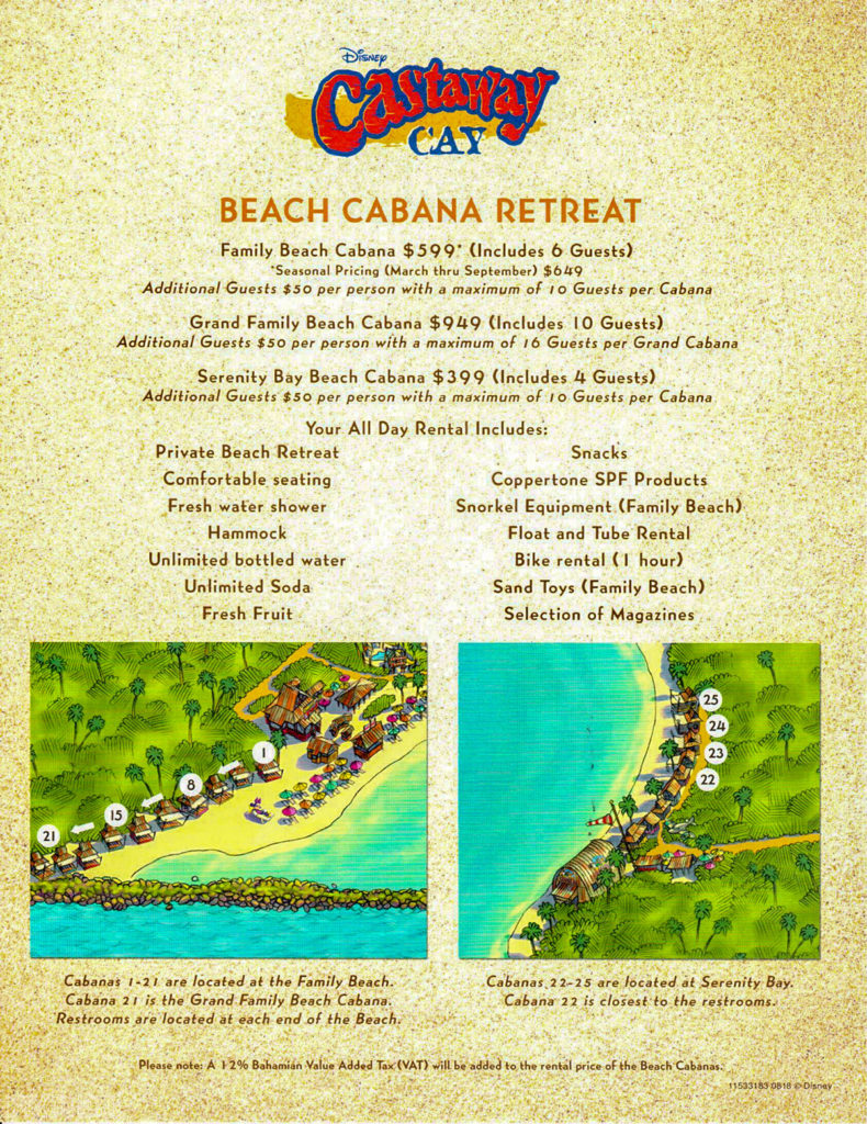 Castaway Cay Beach Cabana Retreat Information Pricing August 2018