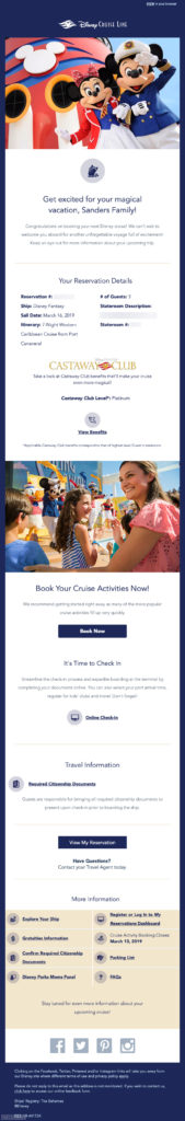 DCL Guest Upcoming Cruise Email 20190219