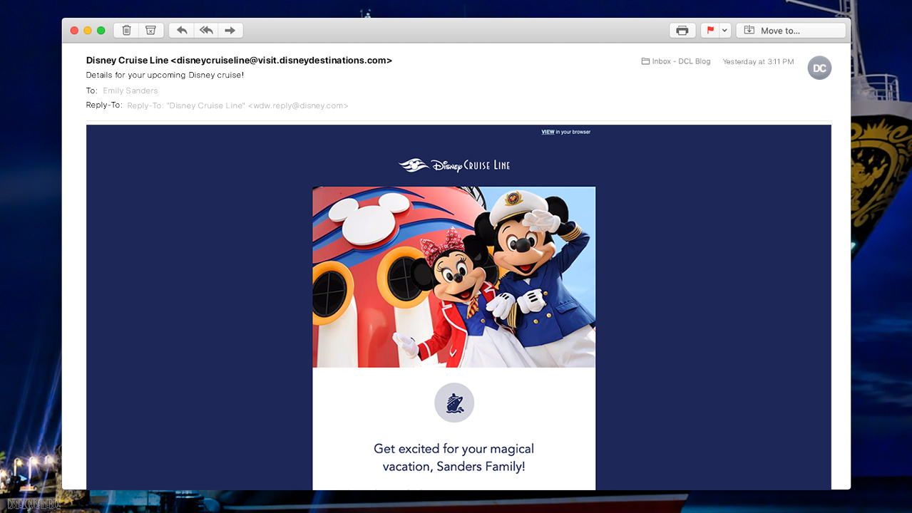 DCL Guest Upcoming Cruise Email Preview