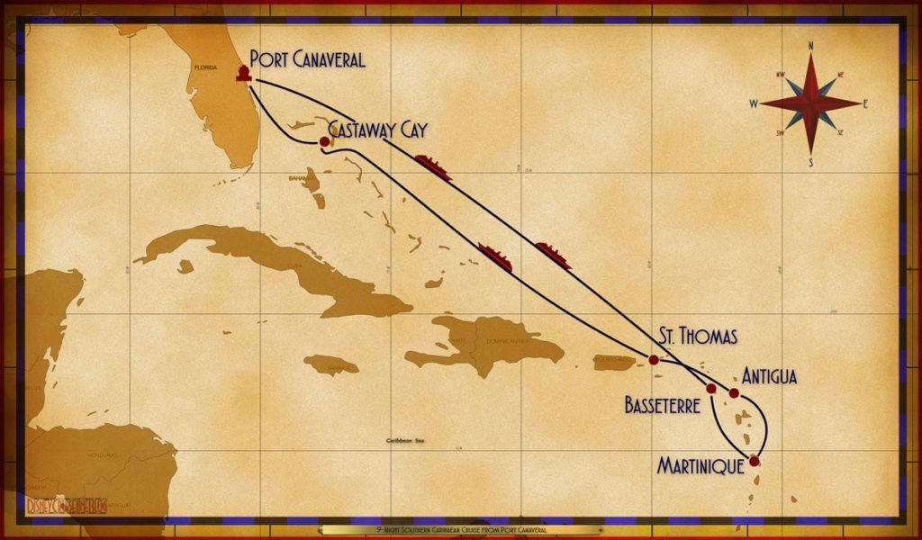 Map Fantasy 9 Night Southern Caribbean PCV SEA SEA BAS MAR ANU STT SEA GOC