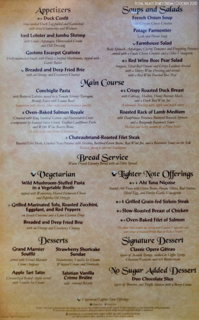 Royal Palace Dinner Menu Dream October 2018