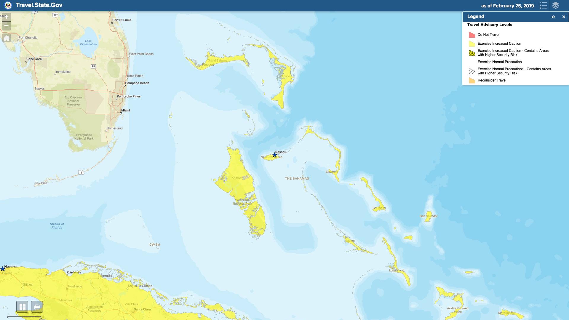 The Bahamas Travel Advisory Map 20190225