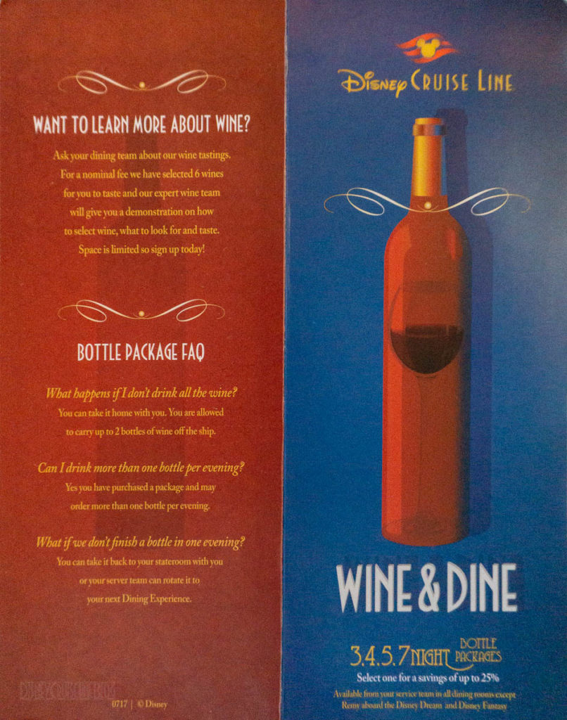 DCL Wine Dine Packages March 2019