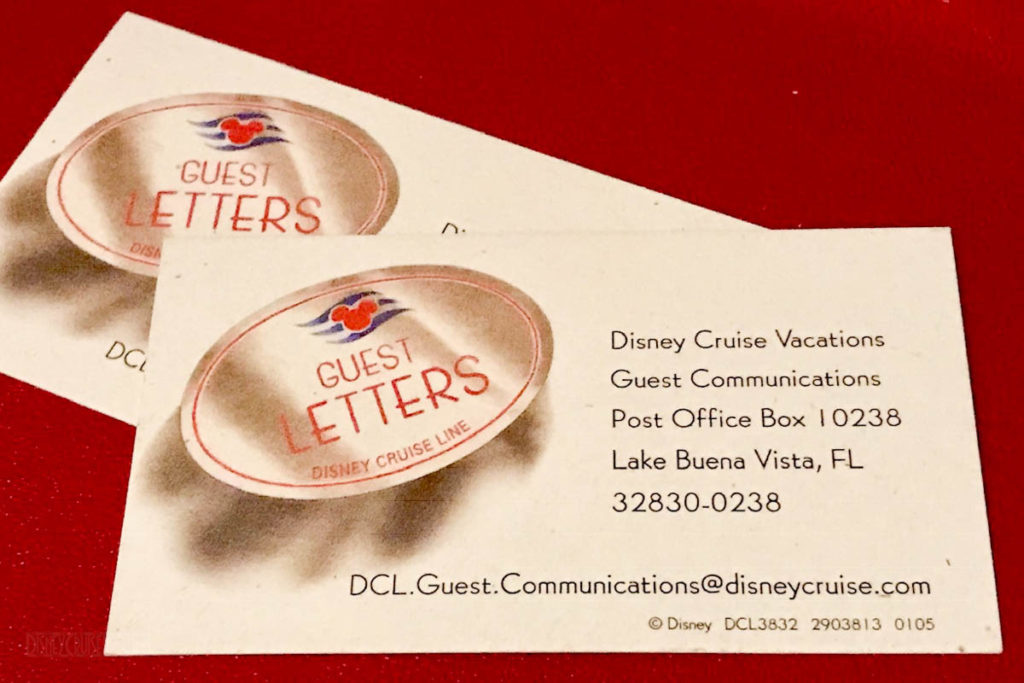 Disney Cruise LIne Guest Communicaitons Business Card