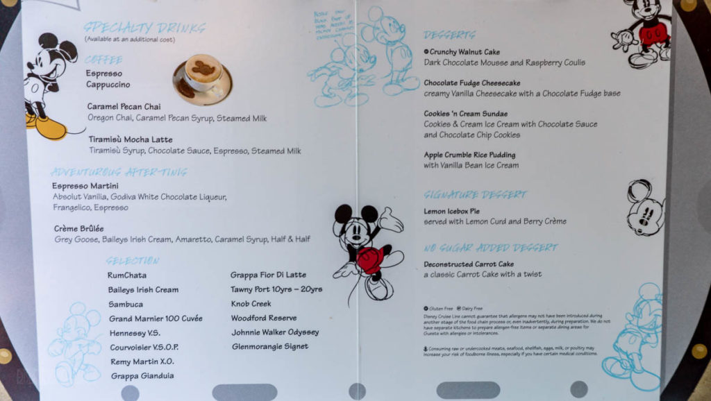Fantasy Animators Palate Standard Dessert Menu March 2019