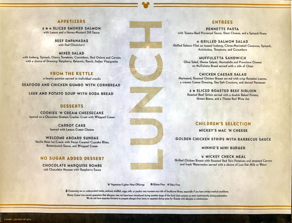 Fantasy Embarkation Lunch Menu March 2019