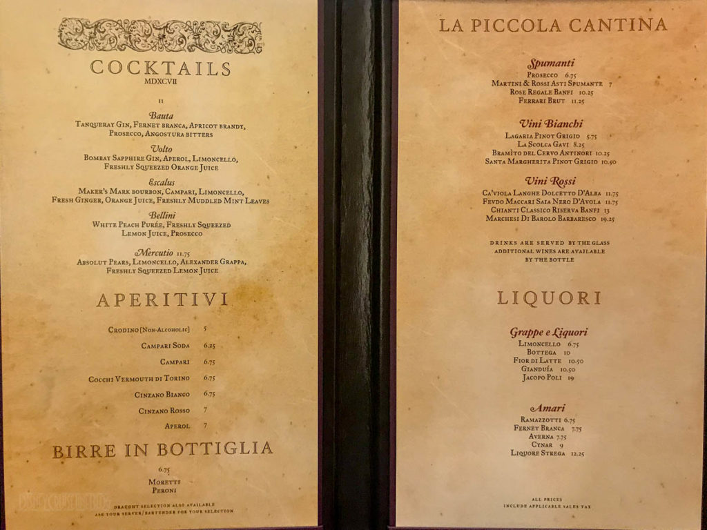 Fantasy La Piazza Menu March 2019