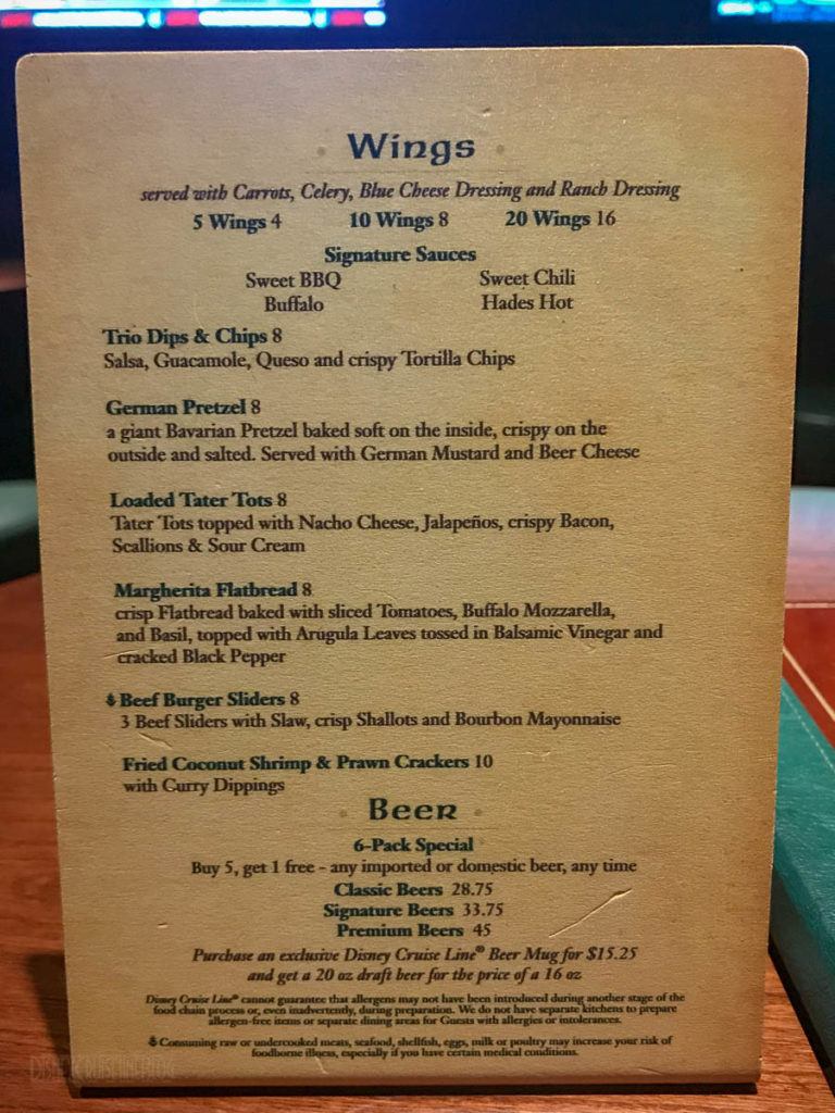 Fantasy O'Gills Pub Grub Menu March 2019