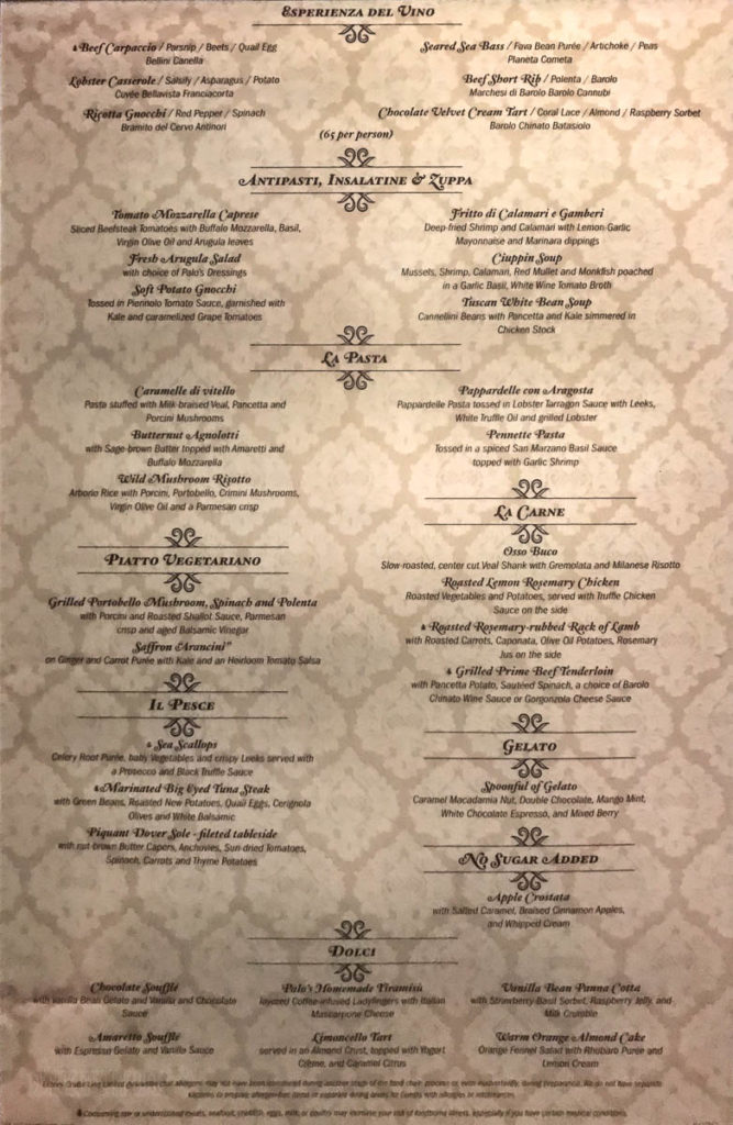 Fantasy Palo Dinner Menu March 2019