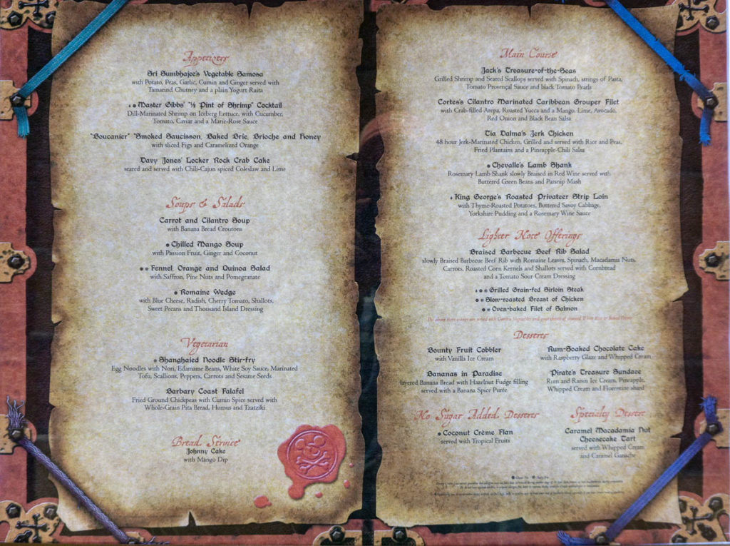 Fantasy Pirates Dinner Menu March 2019