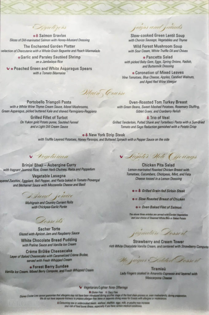 Fantasy Prince Princess Dinner Menu March 2019