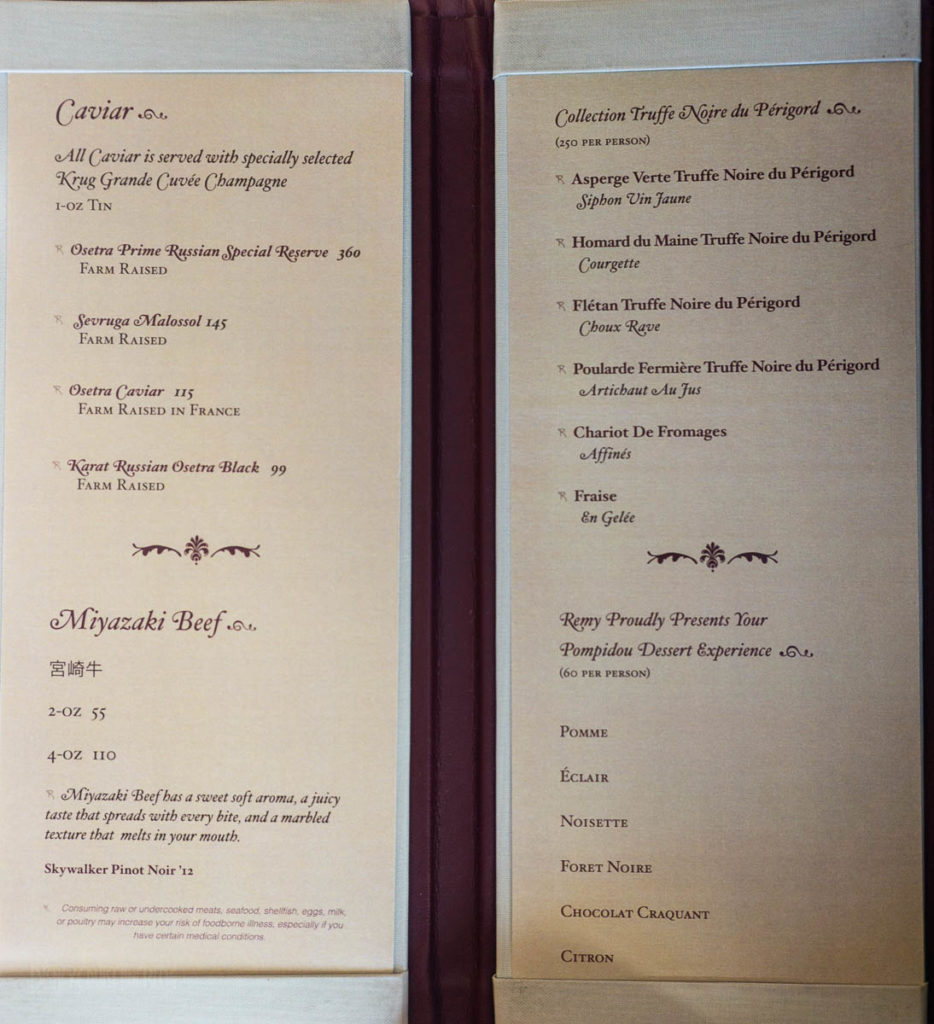 Fantasy Remy Dinner Enhancements Menu March 2019