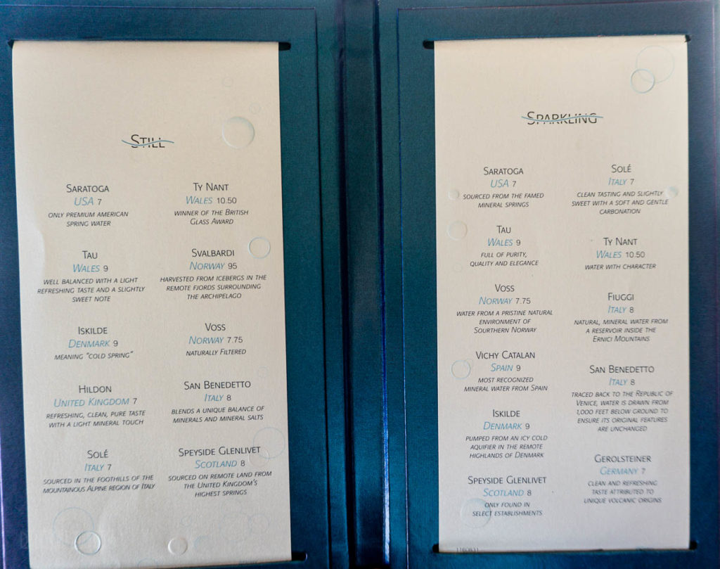 Fantasy Remy Still Sparkling Water Menu March 2019