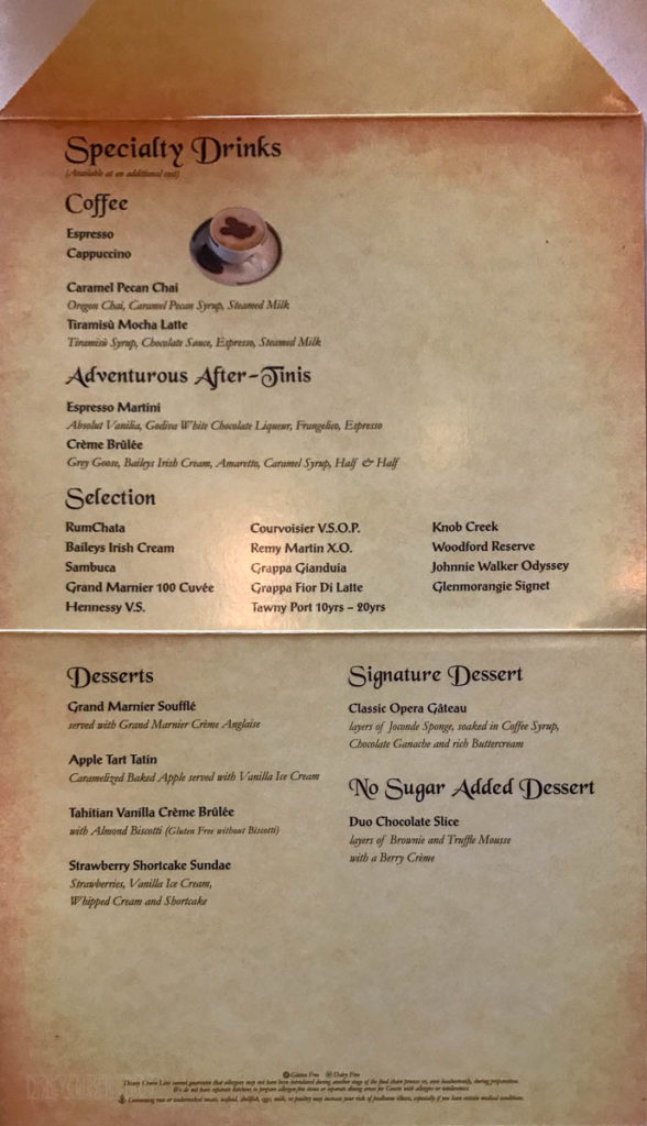 Fantasy Royal Court Dessert Menu March 2019