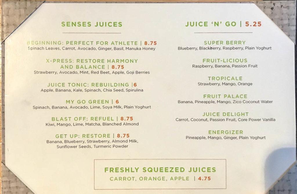 Fantasy Senses Juice Bar Menu March 2019