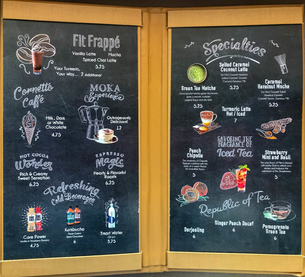 Fantasy Vista Cove Cafe Menu March 2019