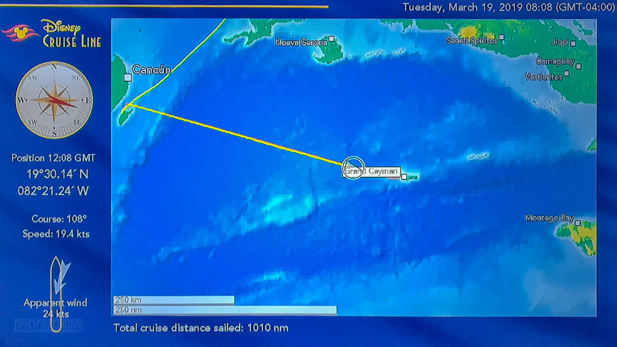 Stateroom TV Map Day 4 Grand Cayman 20190319