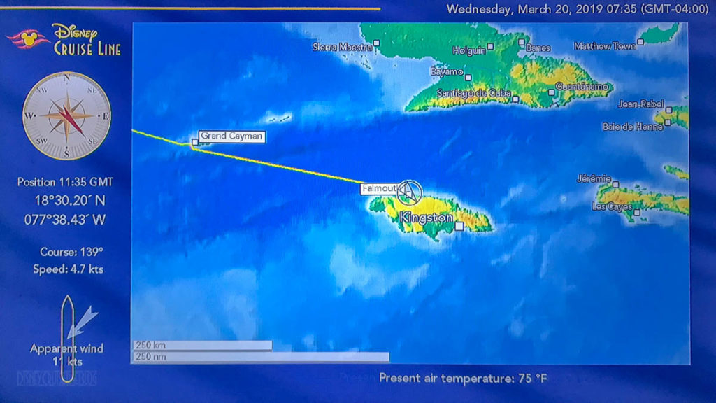 Stateroom TV Map Day 5 Falmouth 20190320